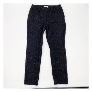 Chico's Lace Covered Textured Ankle Pants Black 4